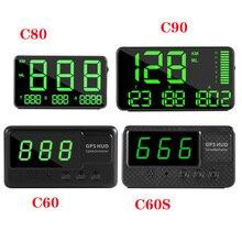 цена на New GPS Speedometer C90 C80 C60 C60S Driving Time Speed Hud Display KM/h For Car Bike Motorcycle Universal GPS Overspeed Alarm
