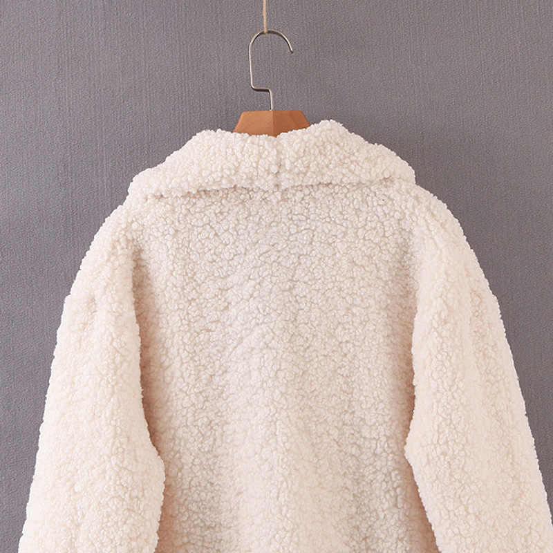 ZOEPO Winter Faux Lam Fur Coats Vrouwen Fashion Solid Double Breasted Jassen Vrouwen Elegante Zakken Lange Jassen Vrouwelijke Dames JAE