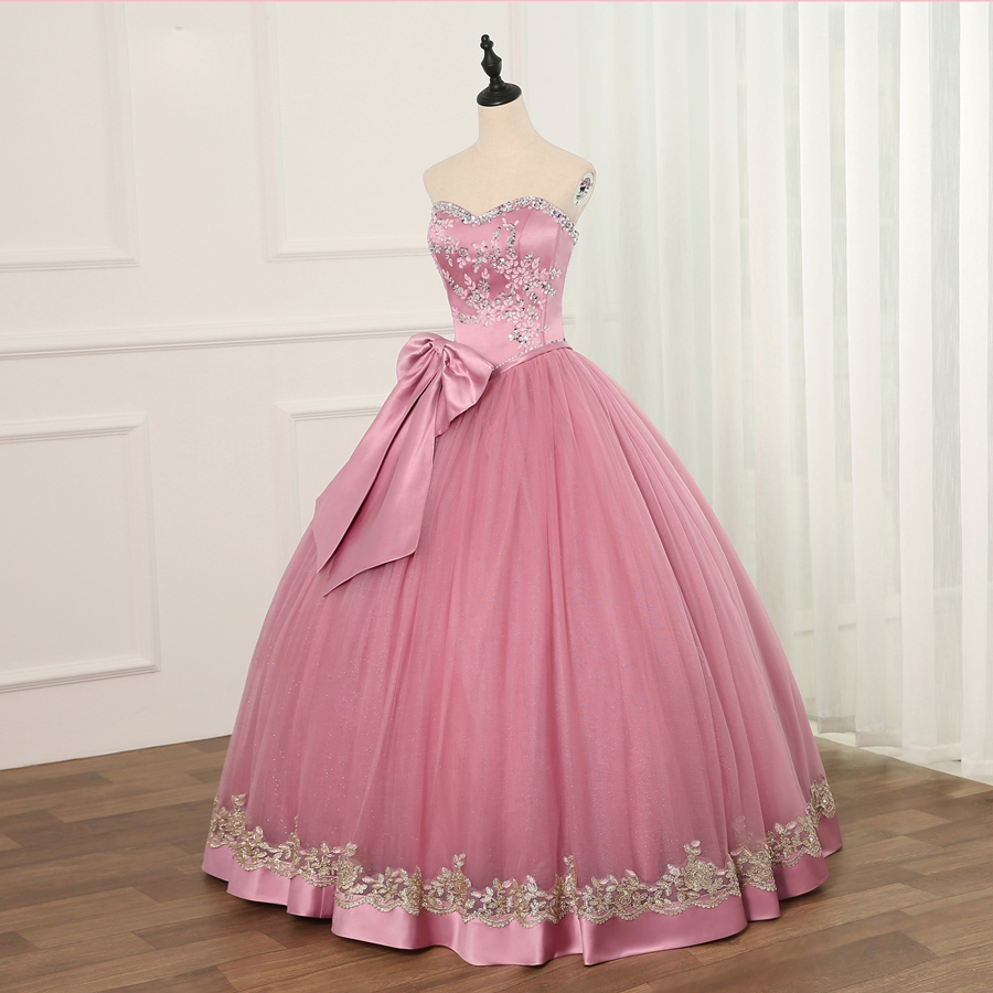 Jiayigong Ball Gown Cheap Quinceanera Dresses Tulle With Beads Sequined Big Bow Sweet 16 Dress For 15 Years Debutante Gown