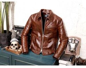 Image 2 - YR!Free shipping.Brand Luxury Tuscany imported batik cattle cowhide jacket,man classic 1930 slim genuine leather coat,cool