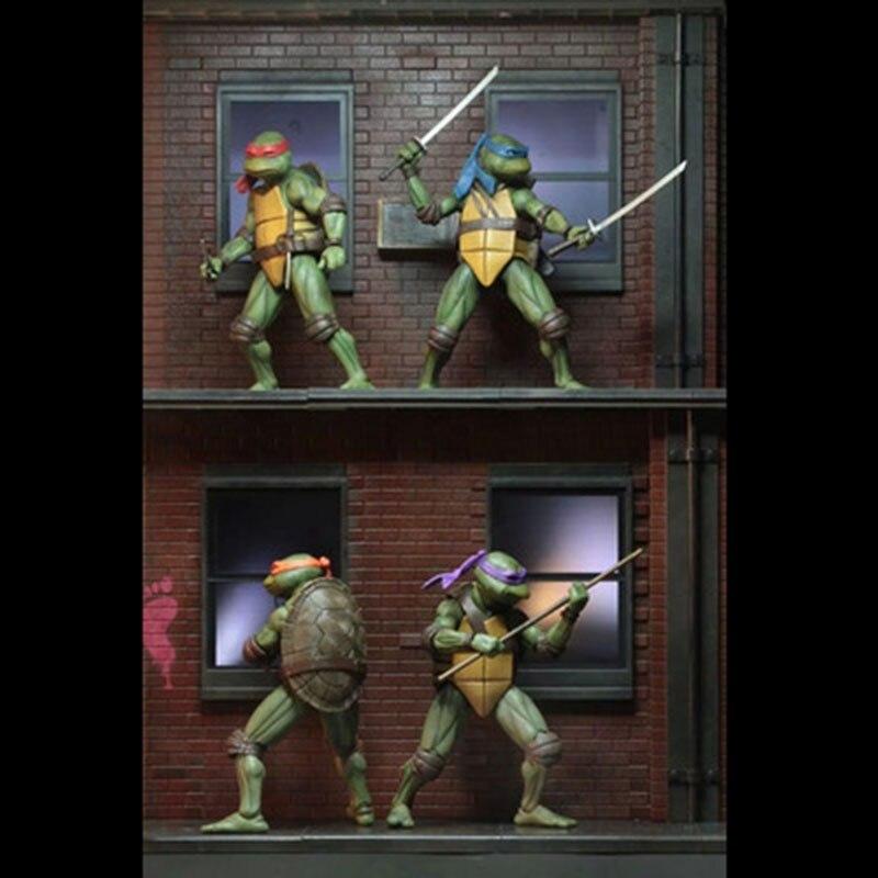 4 pièces/ensemble NECA SDCC édition limitée dessin animé Mutant tortue modèle poupée ornements modèle taille 18CM PVC enfant cadeau avec boîte