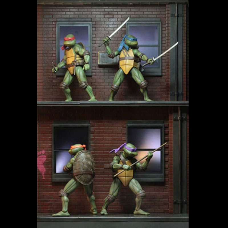 4pcs/set NECA SDCC Limited Edition Cartoon Mutant Turtle Model Doll Ornaments Model SIZE 18CM PVC Kid's Gift With Box