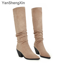 Купить с кэшбэком YANSHENGXIN Shoes Woman Boots Wrinkle Soft Genuine Fur High Heel Women Boots Autumn Winter Pointed Toe Women Shoes Ladies Boots