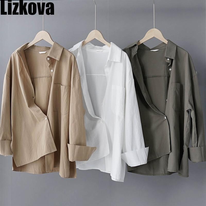 Lizkova 100% Cotton White Blouse Women Long Sleeve Oversized Shirt 2020 Autumn Japenese Lapel Ladies Casual Tops 8887(China)
