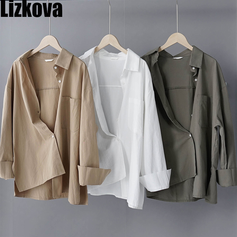 Lizkova 100% Cotton White Blouse Women Long Sleeve Oversized Shirt 2020 Spring Japenese Lapel Ladies Casual Tops 8887(China)