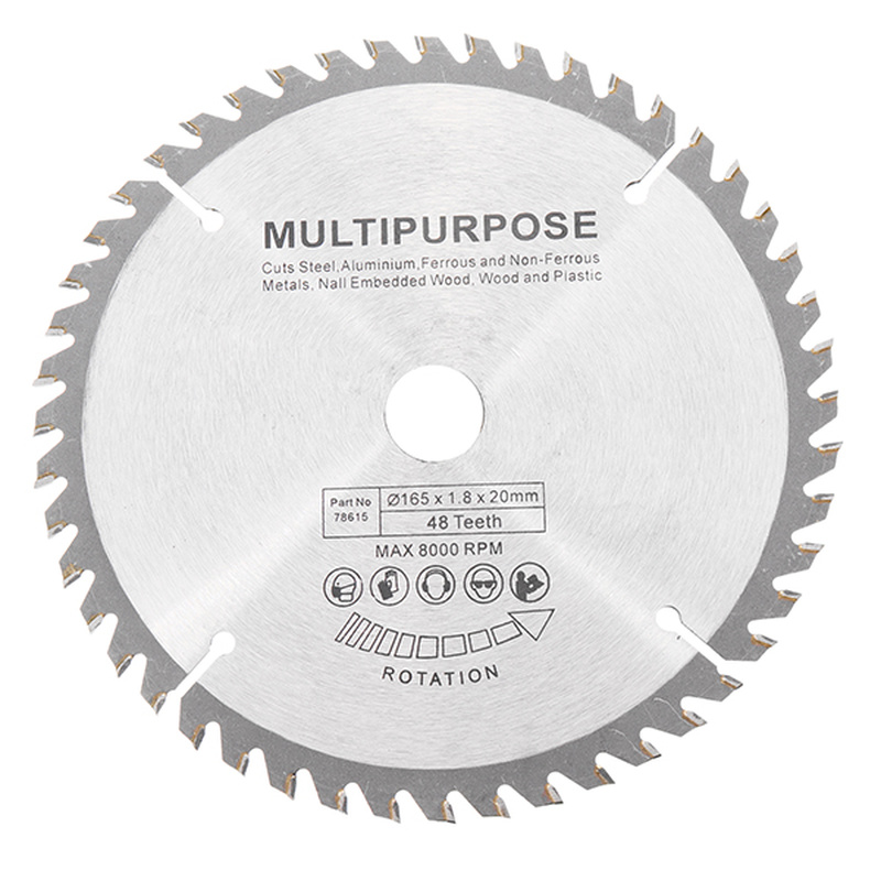 165mm 48 Teeth Circular Saw Blade Tungsten Steel Saw Blade For Woodworking Cutting Durable