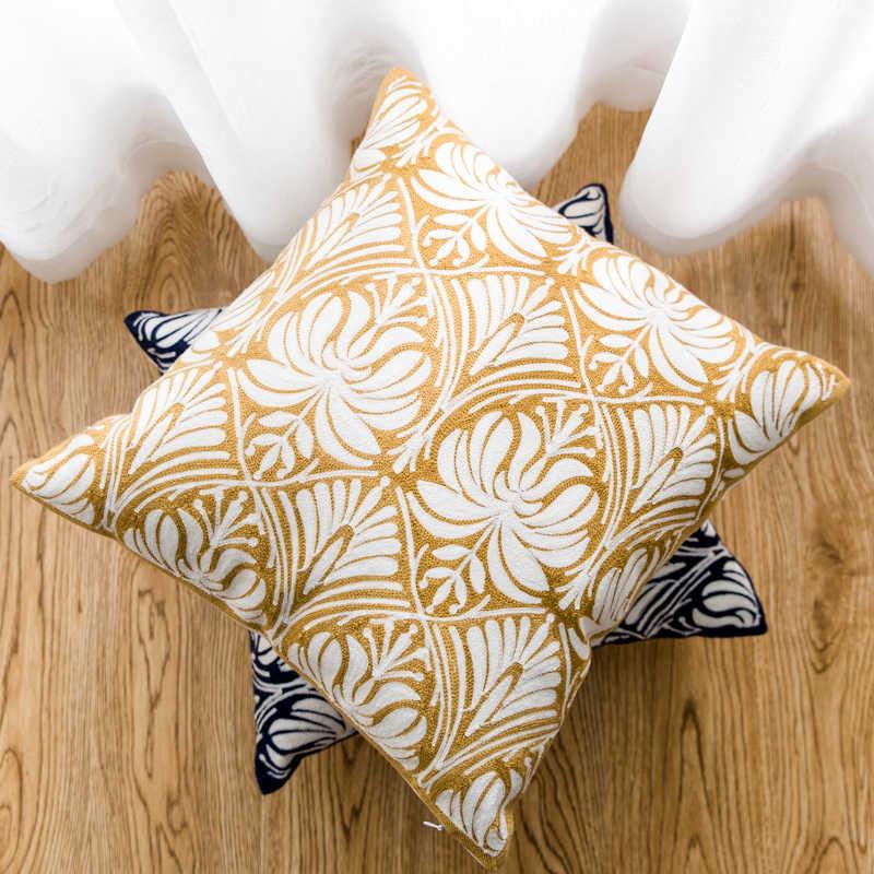 Данкдеко чехлы на декоративные подушки наволочки европ Национальный Флора хлопок нить полная вышивка современный простой диван Coussin