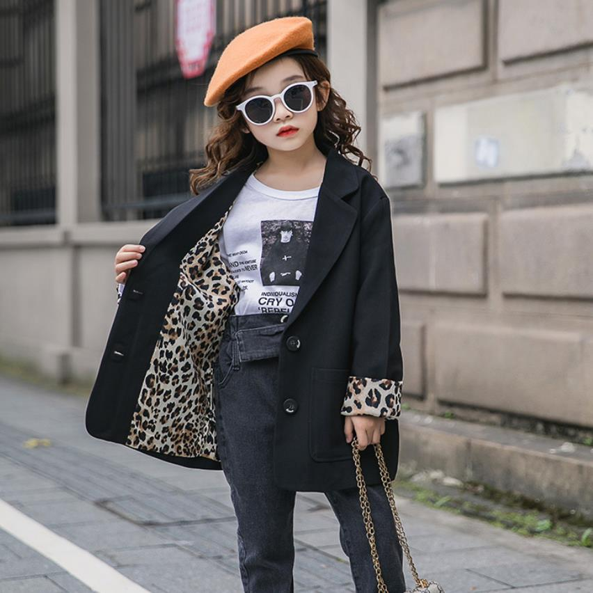 Teenage Girls Fashion Leopard Print Blazers Coats 2019 Spring Autumn New Long Sleeve Loose Outerwear For Children Clothes Ws955