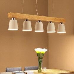 Nordic japoński Led drewno dębowe lampa wisząca oprawa wisząca lampa Lustre Avize strona główna sypialnia Salon Salon deco maison|Wiszące lampki|Lampy i oświetlenie -