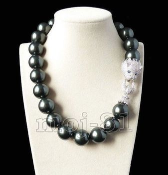 Huge 20mm Genuine Black South Sea Shell Pearl Necklace 19'' AAA Crystal Clasp+BOX
