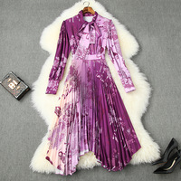 Spring 2020 for European and American women's wear Long sleeve bow tie collar Printed pleated Fashionable purple dress