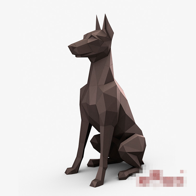 3D Paper Model Doberman Pinscher Dogs Papercraft Animal Toy Home Decor Wall Decoration Puzzles Eductional DIY Toys Gift For Kids