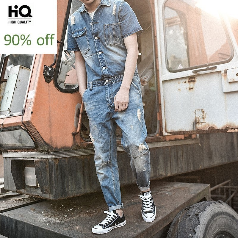 Japan Style Vintage Rompers Mens Jumpsuit Fashion Frayed Skinny Jeans Ankle Length Pants Teenager Denim Overalls For Cowboy Blue