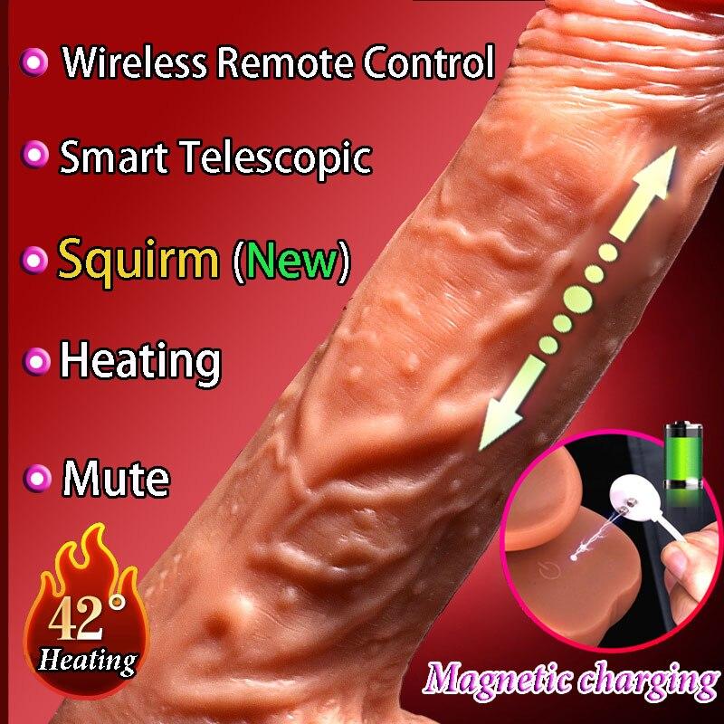 Cpwd inteligente aquecimento automático telescópico vibrador pênis real sexo produto para as mulheres vibrador macio realista enorme brinquedos sexuais pênis
