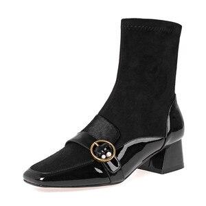 Image 2 - FEDONAS Kare Ayak Kadın Orta buzağı Botları Hakiki Deri Çizmeler Sıcak Bayanlar Çorap Çizmeler Zarif Parti Platformları Kış Ayakkabı kadın