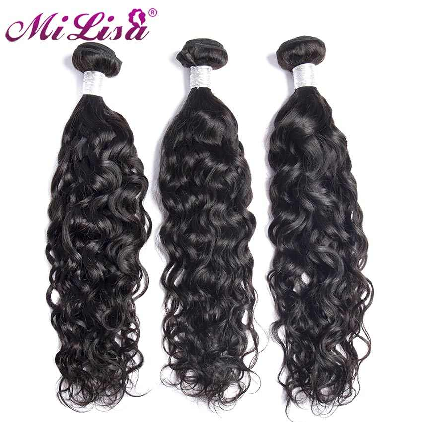 Mi Lisa Hair Indian Water Wave Bundle 10- 30 Inch Bundles Deal 100% Human Hair Weave Bundles Remy Hair Extensions Natural Color