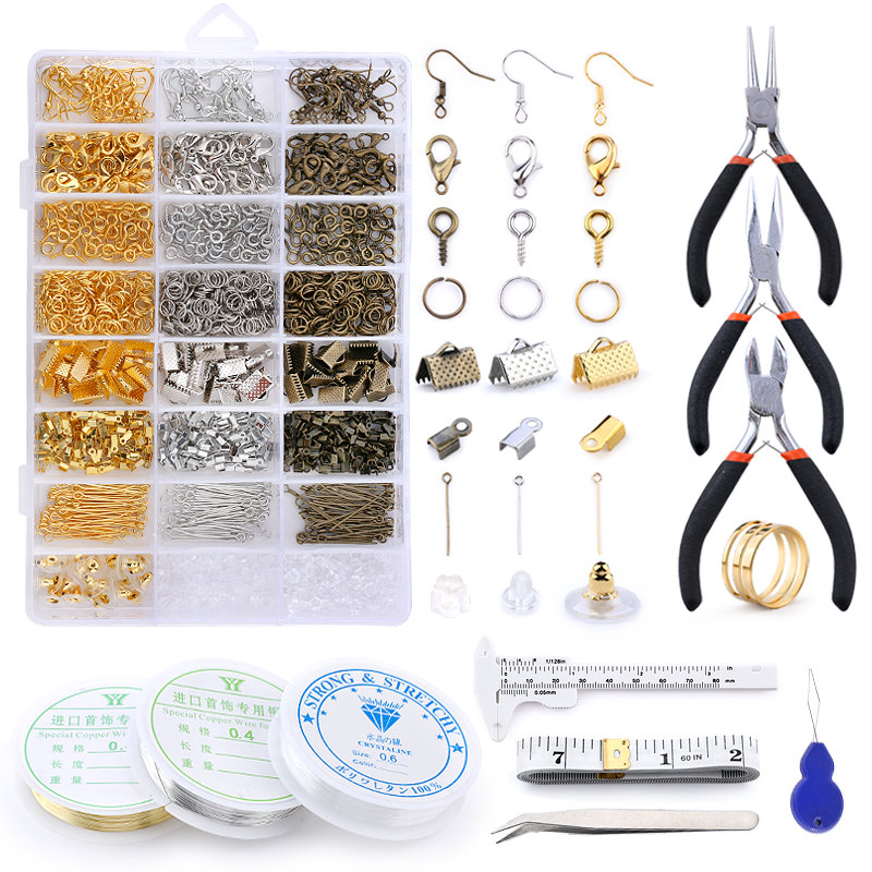 Alloy Accessories Jewelry Findings Set Jewelry Making Tools Copper Wire OpenJump Rings Earring Hook Jewelry Making Supplies Kit