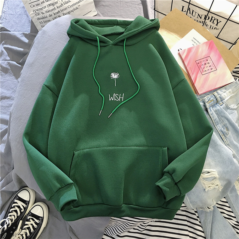 Plus Velvet Korean Women's Sweatshirt Autumn And Winter Fashion Embroidery Student Loose Hoodies Wild Jacket