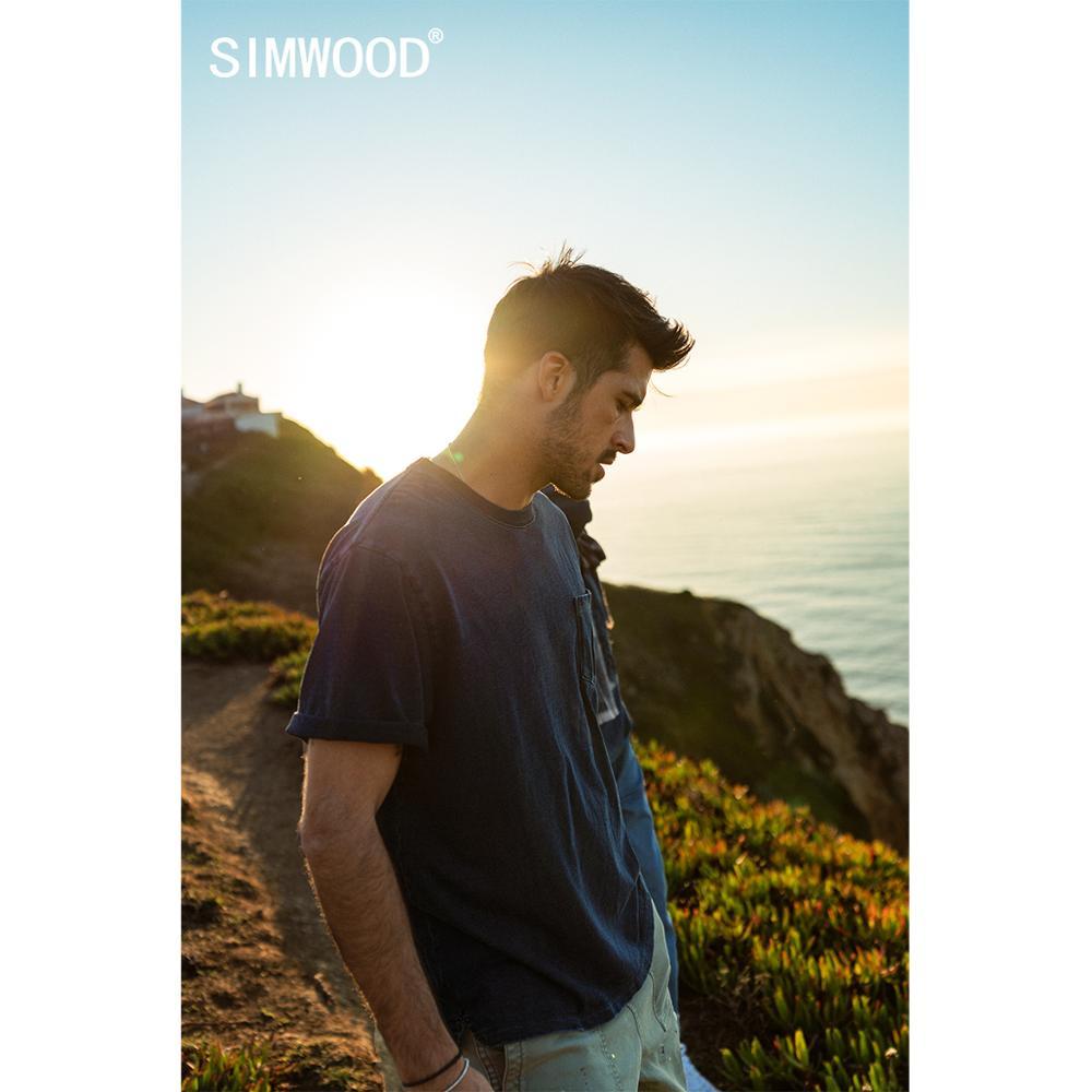 SIMWOOD 2020 Spring Summer New Indigo T-shirt Men Garment-dyed 100% Cotton-Jersey T Shirt Plus Size Denim Feel Tops SJ170104