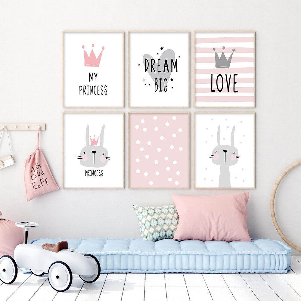 Affiche Murale De Dessin Anime Pour Filles Rose Impression De Lapin Couronne Toile Moderne Peinture Murale Pour Enfants Murale Pour Chambre A Coucher Aliexpress
