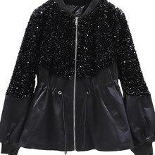 Корейская расшитая блестками куртка 2021 Женская осень зима новый стиль пальто свободная короткая верхняя одежда черный топ с длинным рукаво...