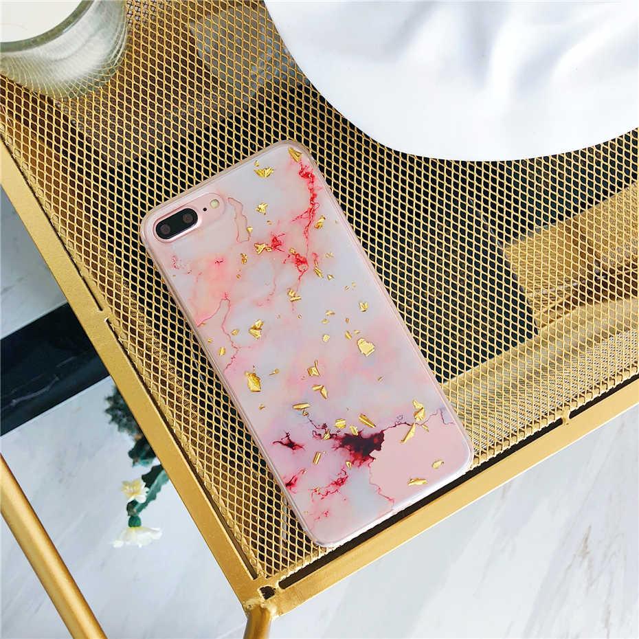 Qianliyao Mewah Foil Emas Bling Marmer untuk iPhone 11 Pro Max XR X XS Max 7 8 6 6 S Plus Kasus Lembut TPU Glitter Cover