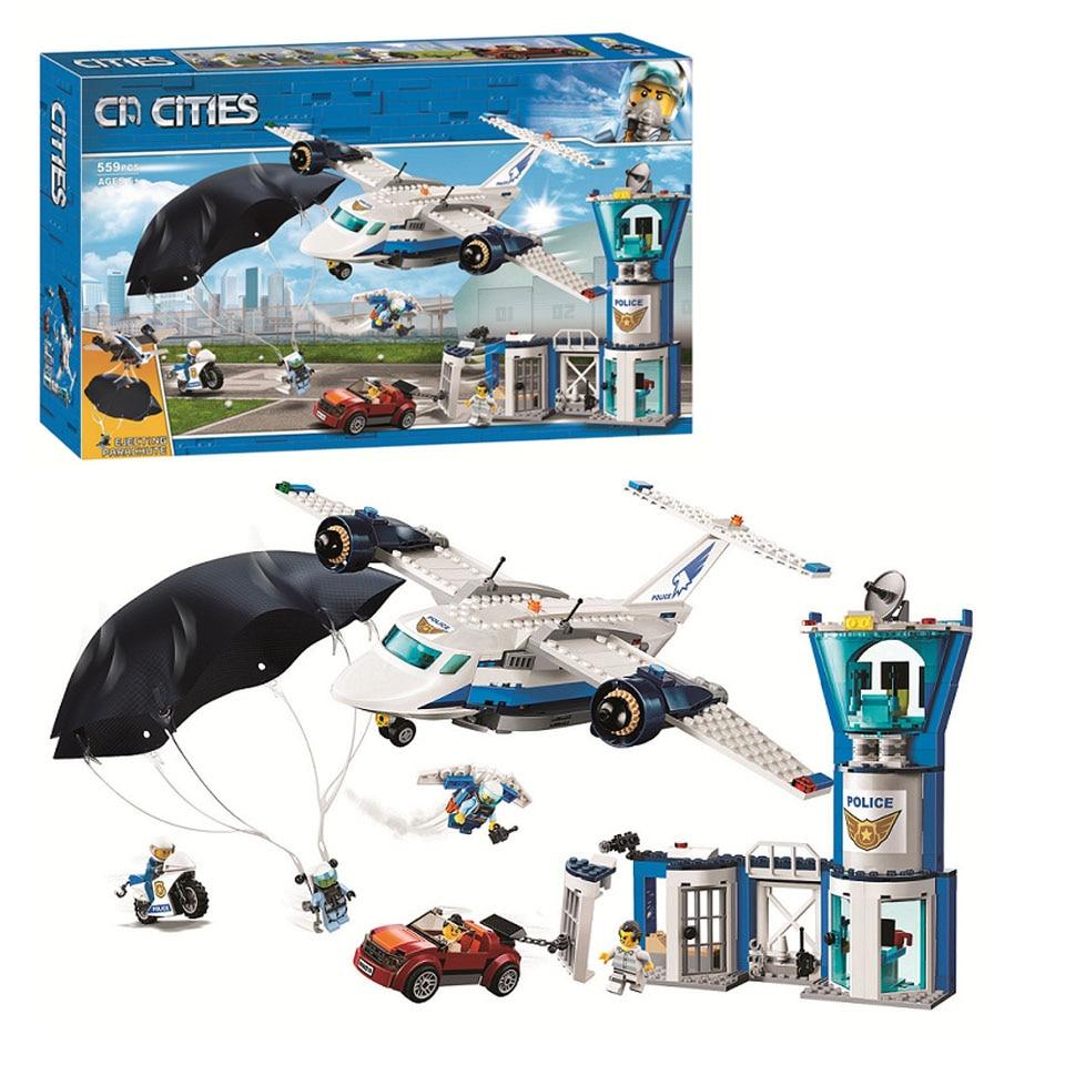 NEW 11210  559pcs City Arctic Sky  Air Base Geta Car Airplane Parachute Legoinglys Building Blocks  Brick 60210 Toy