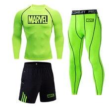 Бренд MARVEL мужской компрессионный комплект MMA футболка с длинными рукавами мужские узкие брюки Одежда для фитнеса и бодибилдинга Рашгард спортивный костюм