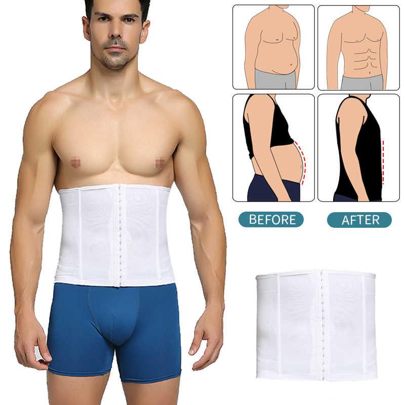Erkek vücut şekillendirme zayıflama kemeri bel eğitmen Shapewear erkek yağ yakma sıkıştırma iç çamaşırı spor bel Cincers