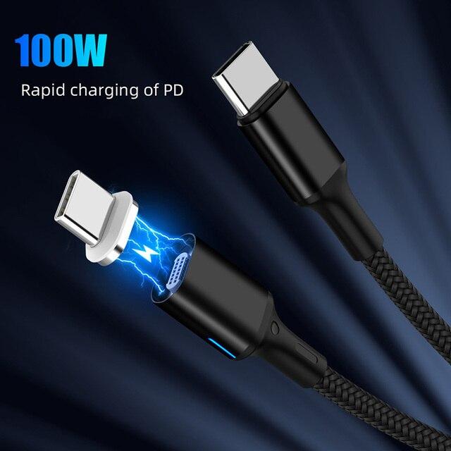 Магнитный двойной кабель типа C 5A PD Быстрая зарядка провод для ноутбука 20 в 100 Вт Кабель для передачи данных типа C для Samsung S9 S8 для Huawei P20