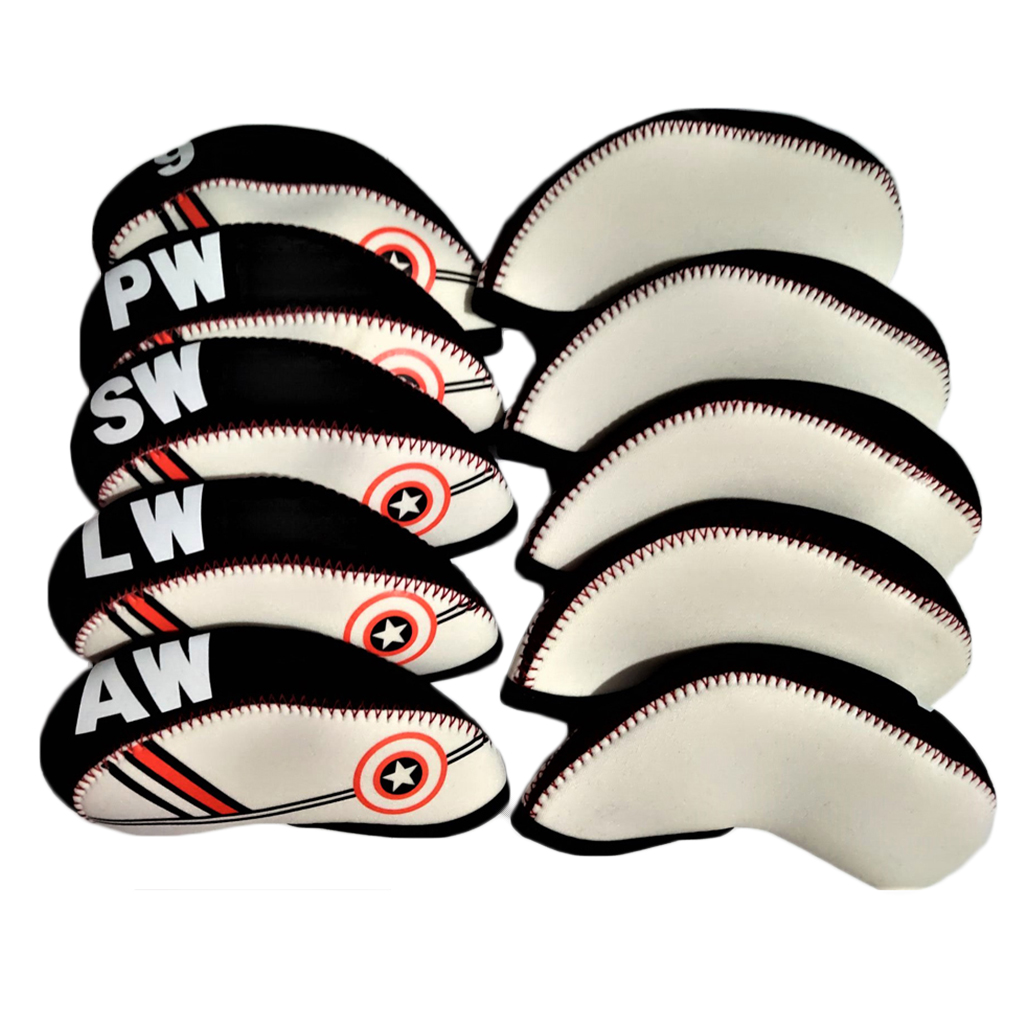 10pcs Golf Irons Head Covers Iron Putter Head Guard Protector Club Cover Sleeve Boots Protective Case- Durable Waterproof