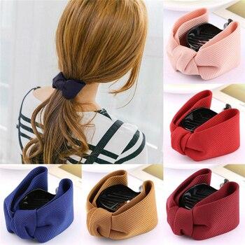 Korean Sweet Fabric Bow Hair Claw Elegant Women Solid Cloth Ties Banana Hair Crab Clips Ponytail Hold Girl Hair Accessories 1