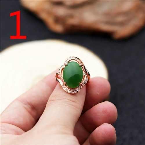 สีเขียวธรรมชาติ Hetian หยก 925 แหวนเงินจีน Jadeite Amulet แฟชั่น Charm เครื่องประดับแกะสลักงานฝีมือของขวัญสำหรับผู้หญิงผู้ชาย