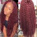 Бордовые парики из человеческих волос на сетке спереди, предварительно выщипанные вьющиеся передние парики на сетке, 200% Полная плотность, ...