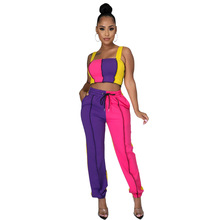 Casual Women Set Color Patchwork Strapless Drawstring Crop Top + Long Pants Sportsuit Spring Clothes For Women