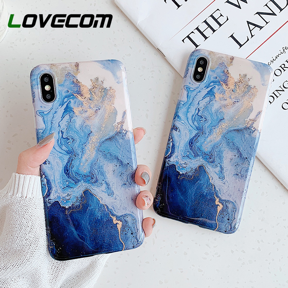 LOVECOM Phone Case For iPhone 11 Pro Max XR XS Max 6 6S 7 8 Plus X Soft IMD Cute Pink Vintage Marble Full Body Back Cover Coque