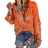 2020 New Design Plus Size Women Blouse V-neck Long Sleeve Chains Print Loose casual Shirts Womens Tops And Blouses 6