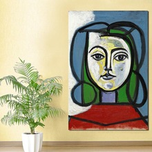 Woman Head Portrait By Picasso Wall Art Canvas Poster and Print Painting Oil Decorative Picture Living Room Home Decor HD
