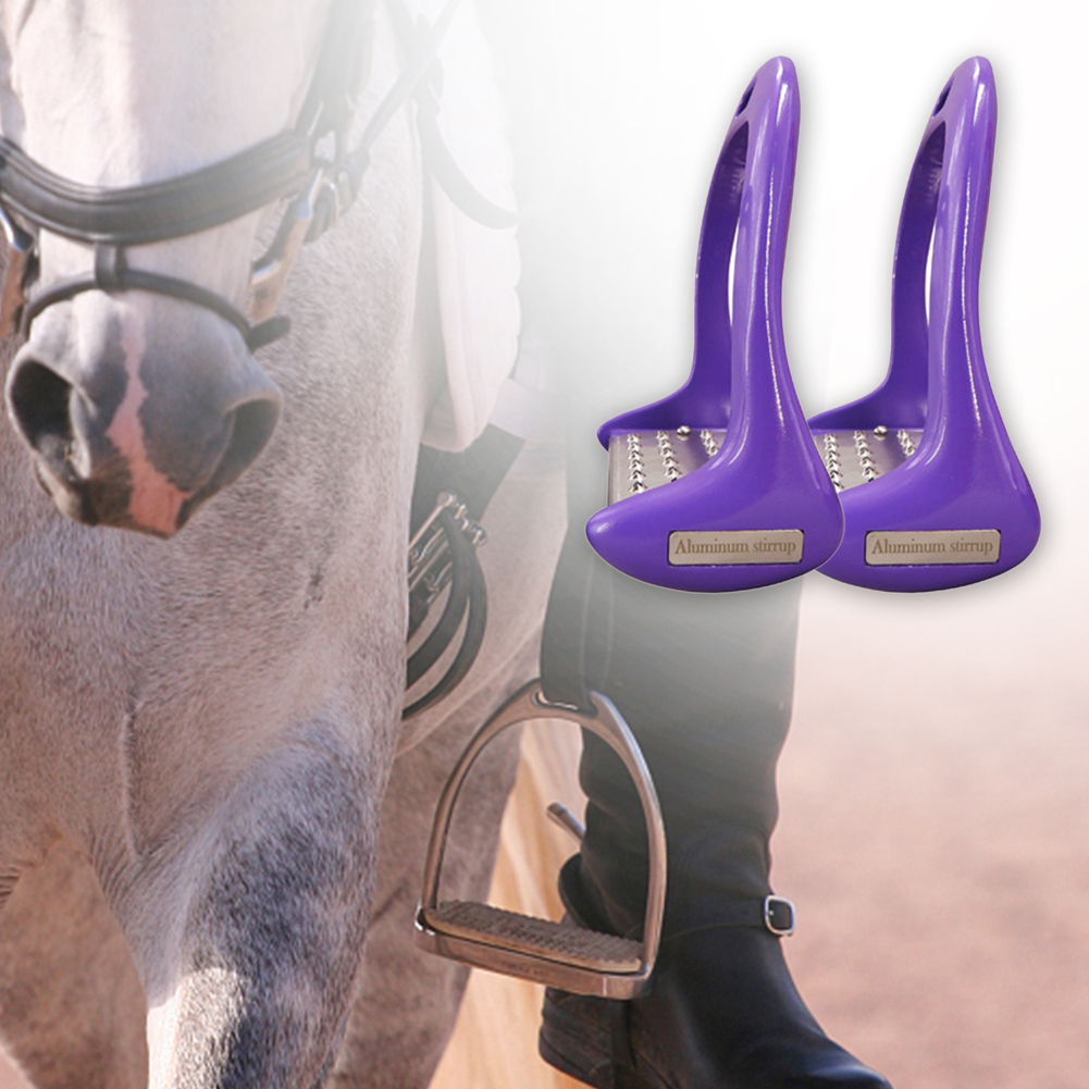 1 Pair Pedal Equipment Horse Stirrups Anti Slip Equestrian Safety Aluminium Alloy Riding Treads Lightweight Outdoor Sports