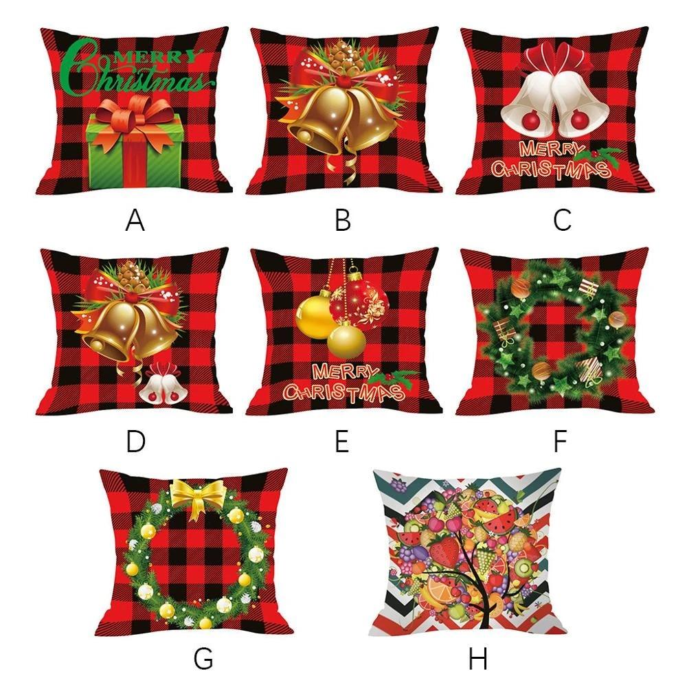 Christmas Pillow Cover Christmas Decorations Cushion Cover Red Printed Home Decor Pillows Sofa Pillowcase Kissen Weihnachten 2f Cushion Cover Aliexpress
