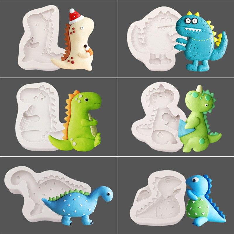 Dinosaur Shape Silicone Mould DIY Fondant Cake Mold Gummy Chocolate Mold Cartoon Baking Utensils For Children Birthday Party