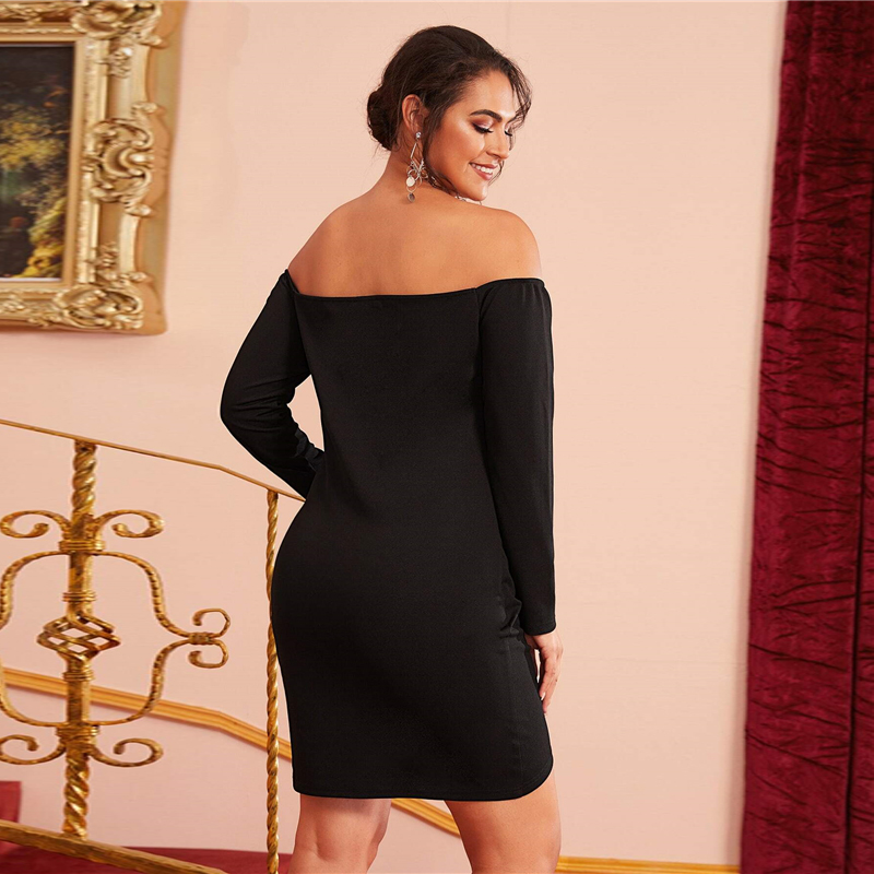 Plus Size  Off Shoulder Cross Wrap Ruched Detail Bardot Party Black Dress