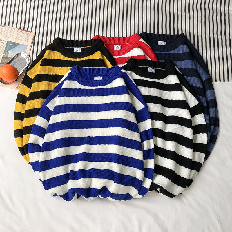 Winter Striped Sweater Men Warm Fashion Contrast Color Casual O-neck Knit Pullover Man Loose Long-sleeved Sweater Male Clothes