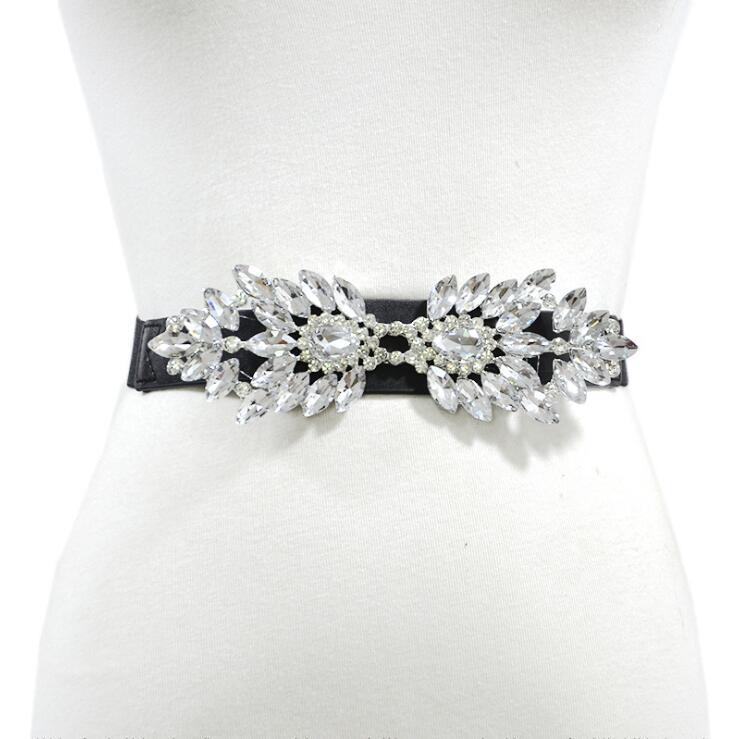 Women's Runway Fashion Diamonds Beaded Cummerbunds Female Dress Corsets Waistband Belts Decoration Narrow Pearl Belt R2520