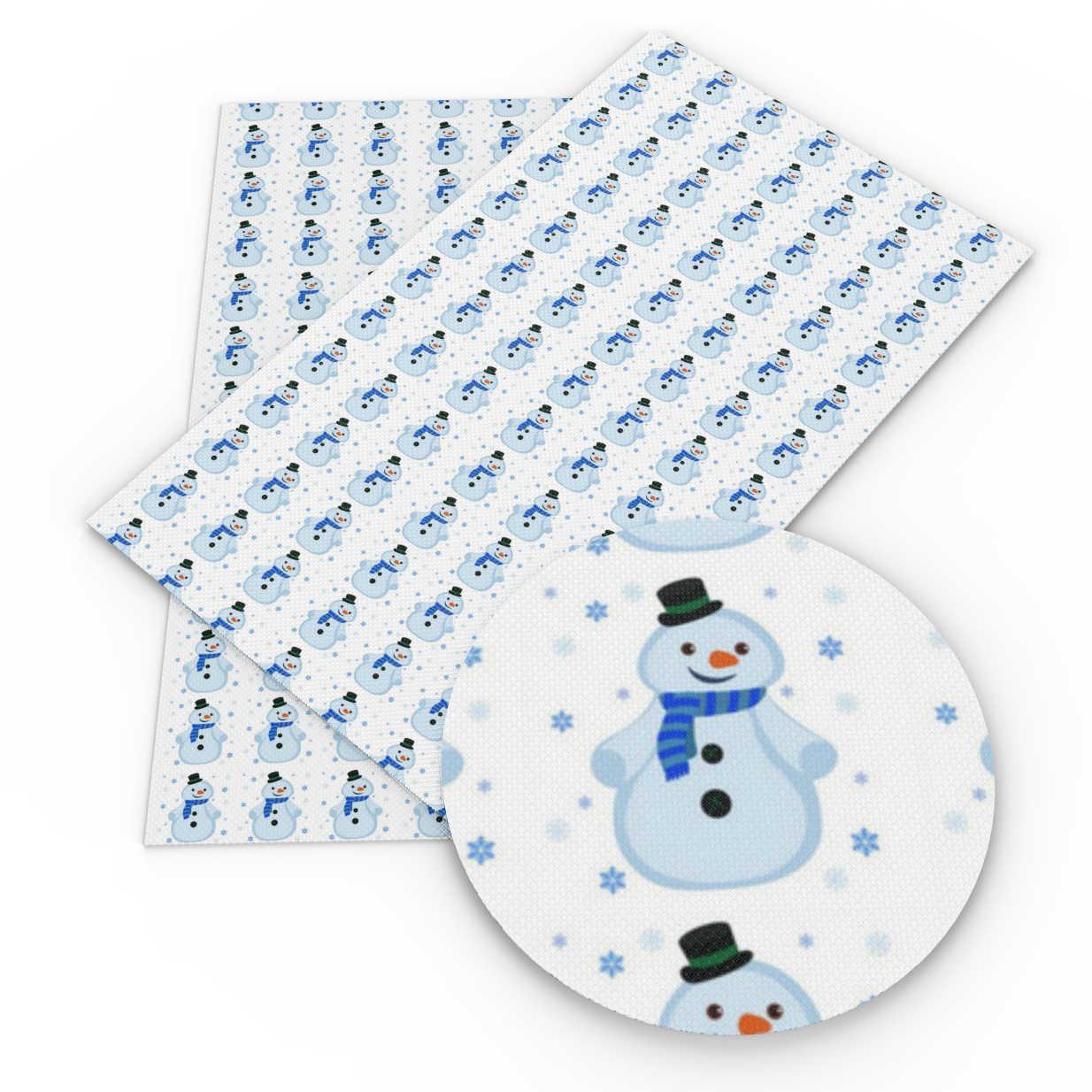 デビッドアンジー 20*34 センチメートルクリスマス雪の男プリント生地合成皮革スパンコールパッチワークバッグ DIY ハンドメイド電話ケース、 1Yc7283