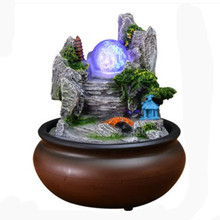 Resin Rockery Feng Shui Water Fountain Wind Wheel With LED Light Ball