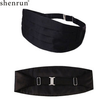 Shenrun Men's Tuxedo Satin Cummerbund Tailcoat White Black Red Groom Cummerbunds Singer Musician Adjustable Waist Belt Waistline