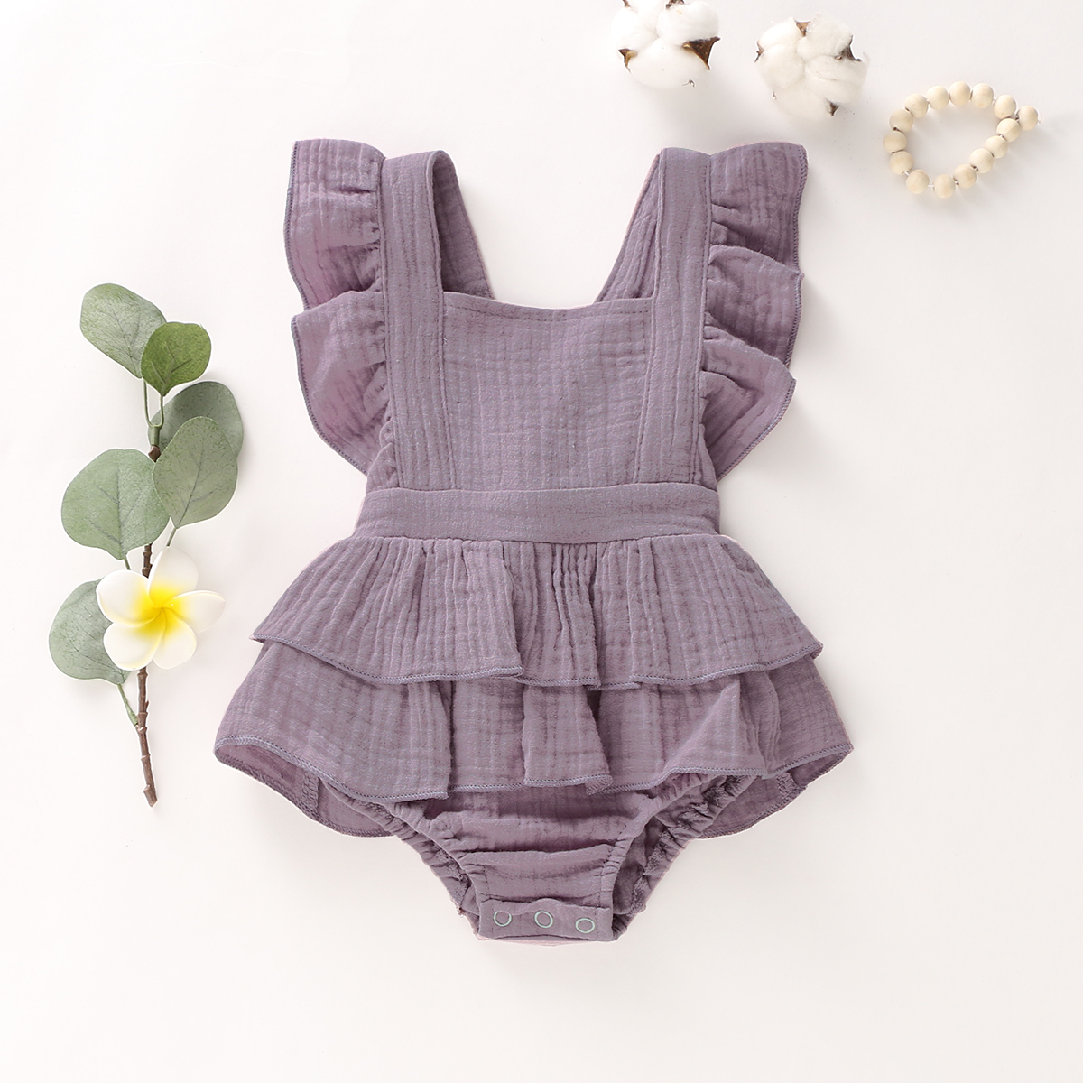 Pudcoco Newborn Baby Girl Clothes Sleeveless Solid Color Ruffle Romper Jumpsuit One-Piece Outfit Sunsuit Clothes