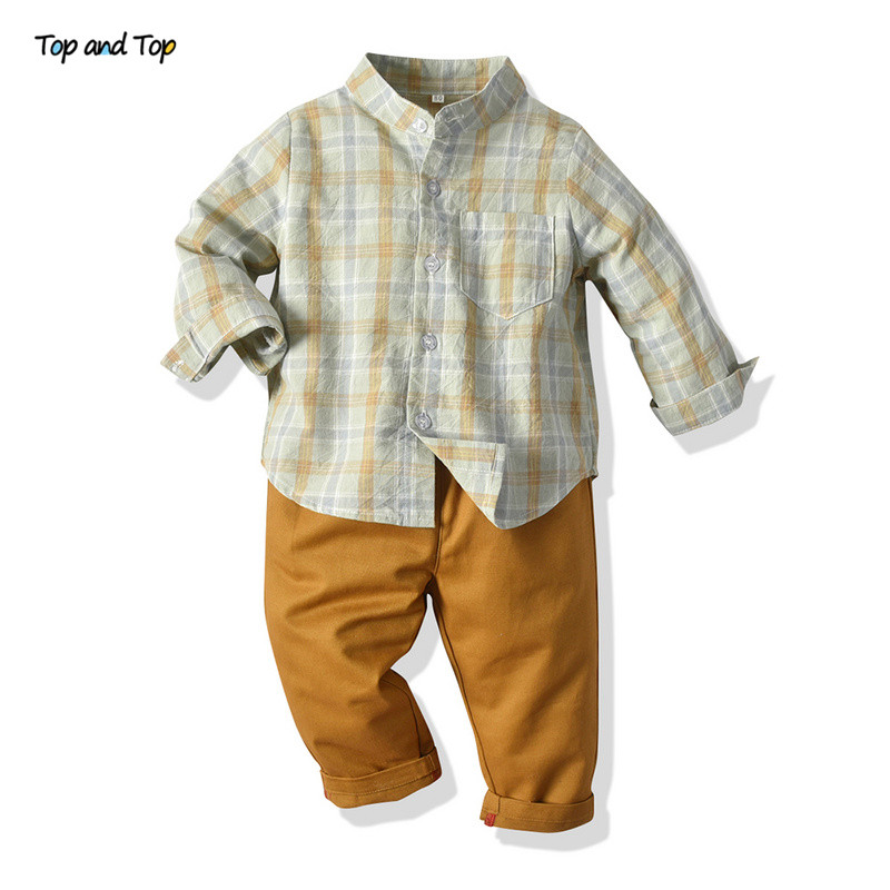 Too and Top Fashion Kids Boys Casual Clothes Set Cotton Long Sleeve Plaid Shirt+Trousers 2Pcs Suit Girls Clothing Sets Tracksuit