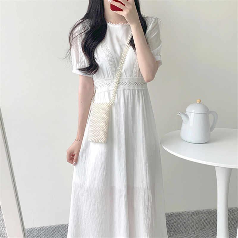 בתוספת גודל תחרה חדש קיץ שמלת בנות Boho מסיבת מוצק נשי בציר שמלה לבן קצר שרוול נשים שמלות ארוך גלימה vestido